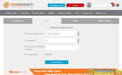Pilihan jumlah poin yang akan ditukarkan dengan PayPal | SurveiDibayar.com