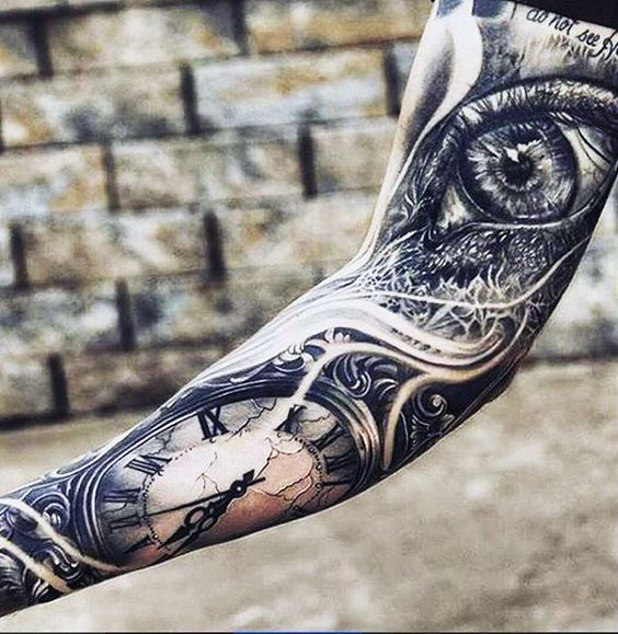 Mens Forearms Guardian Angel And Cross Tattoo | Black and ...
