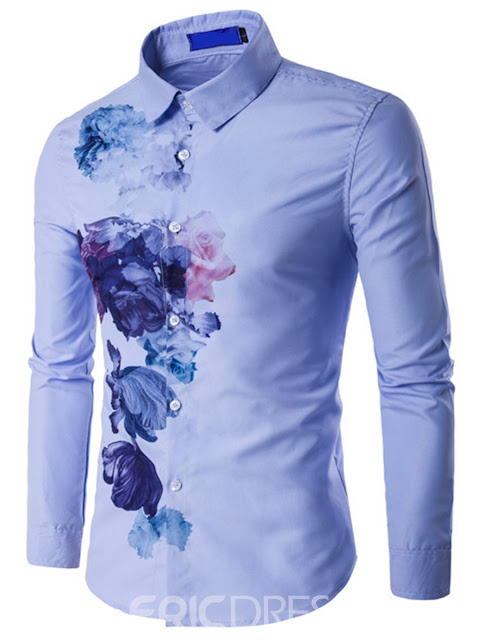 Ericdress Vogue Ink Print Long Sleeve Men's Shirt
