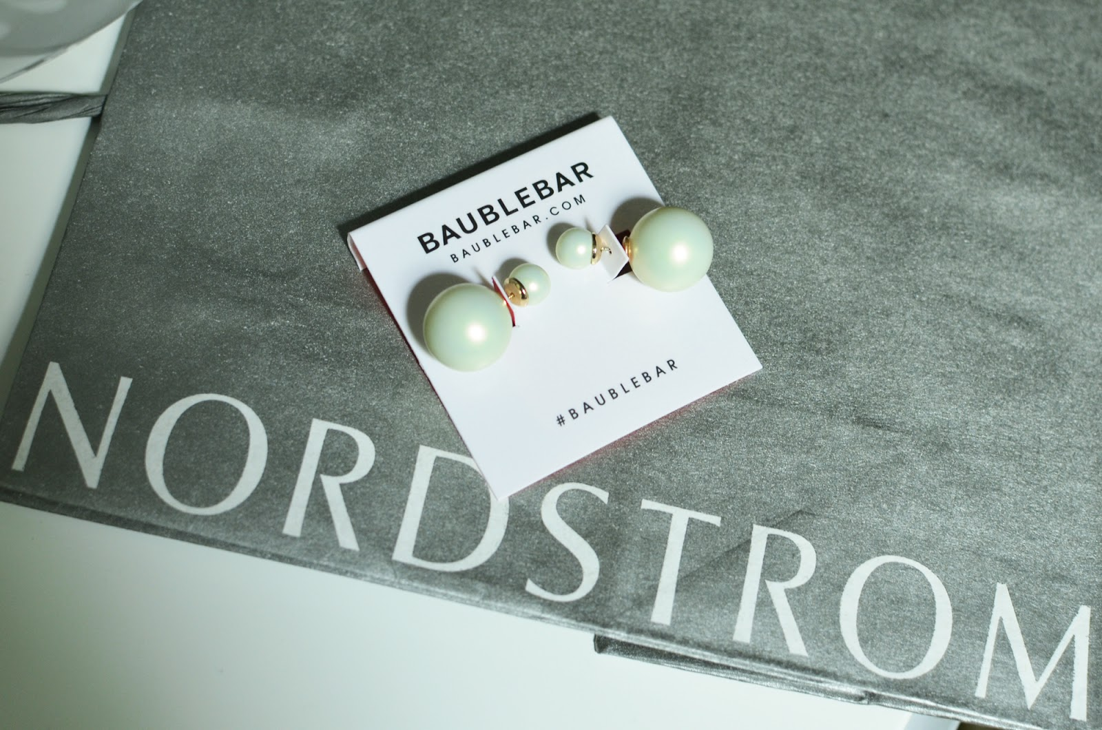 BaubleBar double pearl earrings with iridescence from Nordstrom