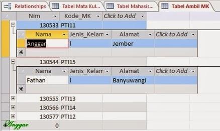 Tampilan database yang telah terelasi