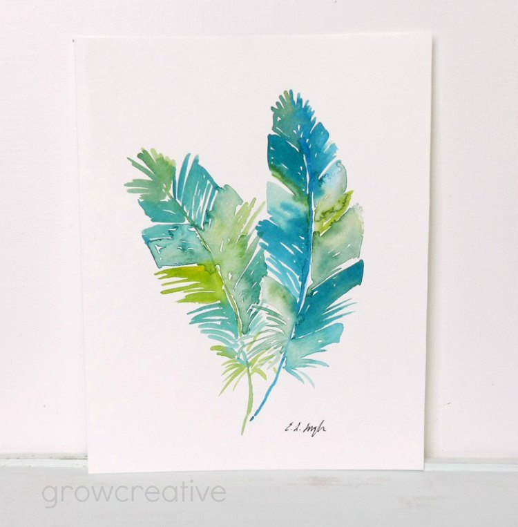 Blue and Green Original Watercolor Feathers Painting: Grow Creative