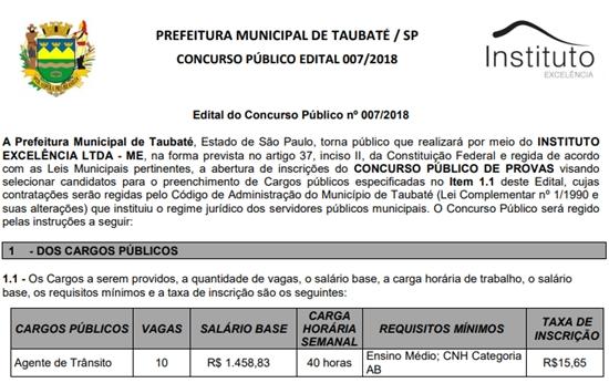 Edital do Concurso Prefeitura de Taubaté 2018
