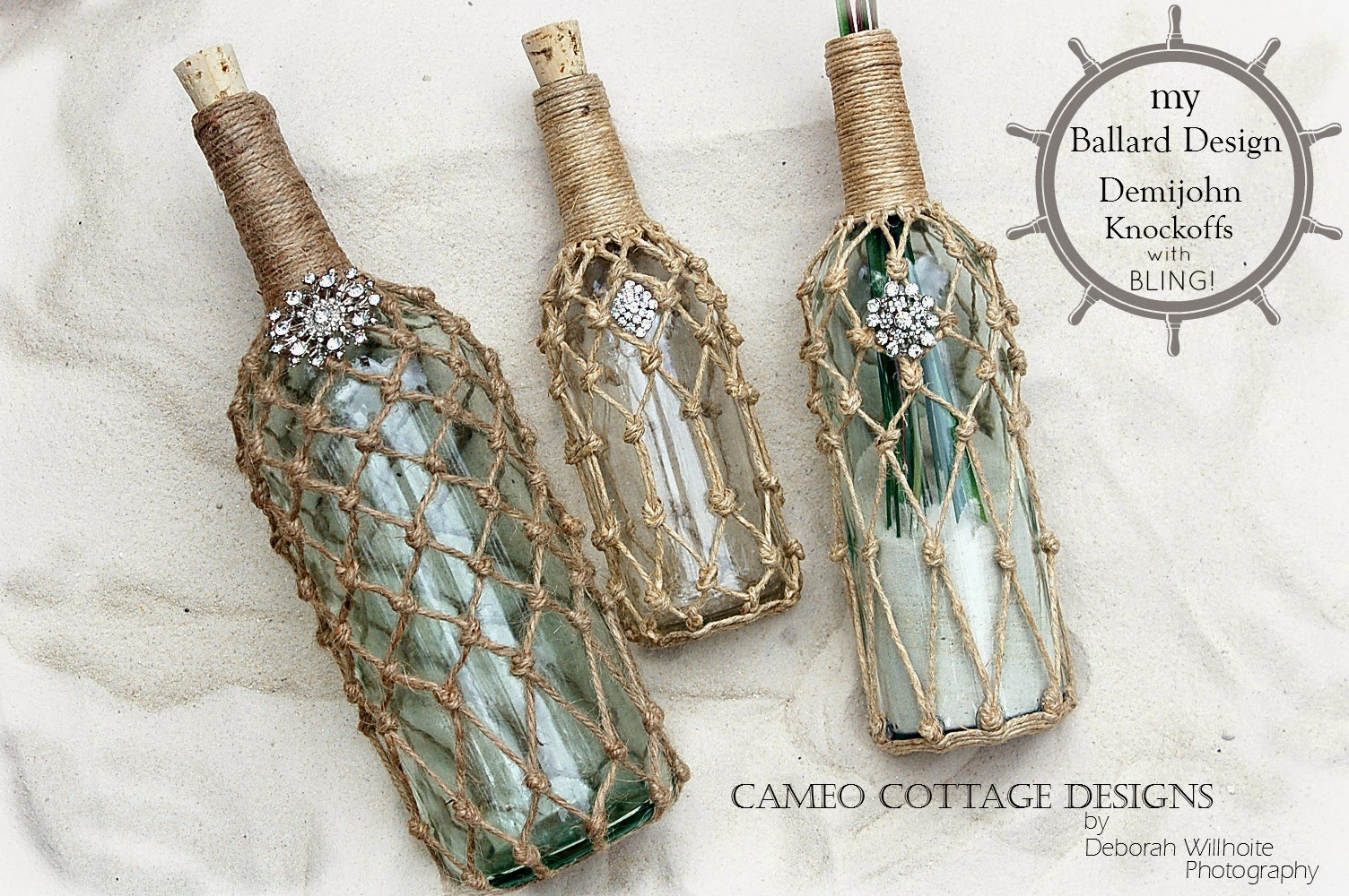 cameo cottage designs my ballard design demijohn knock off only i have seen fish netted demijohns all over the stores in all sizes and shapes but lordy are they expensive even to buy the bottles without the net could