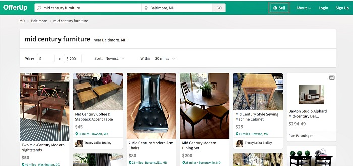 Searching offerup for used furniture and decor