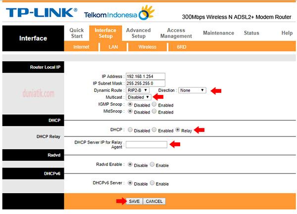 setting mengubah modem adsl menjadi ap, dhcp relay