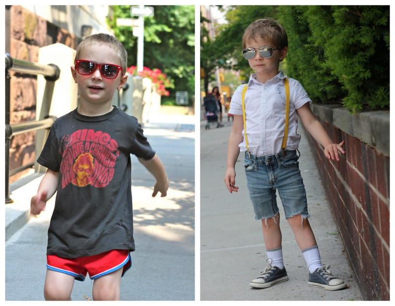 1e296b68b2d Look towards mens fashion for ideas. Right now I m seeing a lot of men wear  V-neck t-shirts and cut off shorts. Perfect for toddler boys too