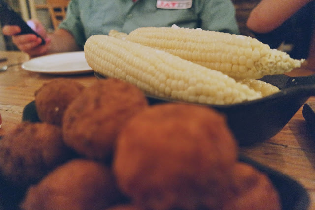 Cream poached Silver Queen corn with corn donuts