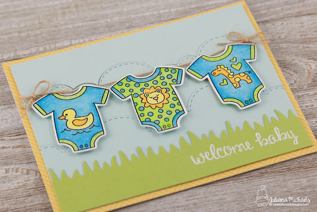 Welcome Baby Card by Juliana Michaels featuring Newton's Nook Designs Lovable Laundry Stamp and Die Set