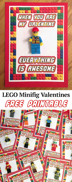 "LEGO mini fig valentines. Such a cute idea.  Featuring the phrase ""EVERYTHING IS AWESOME"" on a free printable.  LOVE IT!"
