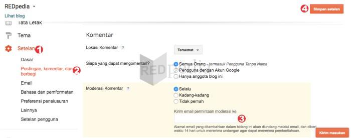Reset email moderasi komentar Blogger agar dapat berfungsi kembali