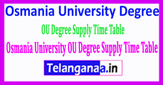 Osmania University Degree Supply Time Table 2018 Download