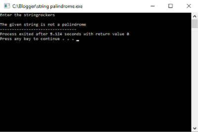 C program String palindrome first output