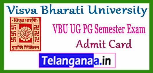 Visva Bharati University UG PG Semester Exam Admit Card 2018-19