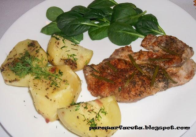 warzywa, sałata i mieso z parowaru