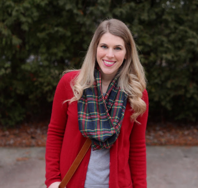 grey tee, red boyfriend cardigan, plaid scarf, cognac boots