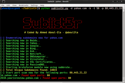 Sublist3r v1.0 - Fast subdomains enumeration tool for penetration testers