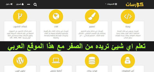 أفضل موقع عربي لتعلم البرمجة والتصميم و التدوين و اللغات و كل شيئ يخطر ببالك