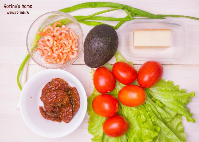 Салат с креветками и авокадо: ингредиенты.