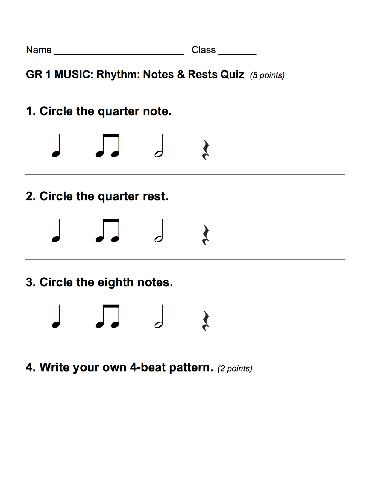 small resolution of Notes And Rest Grade 6 Worksheets   Printable Worksheets and Activities for  Teachers