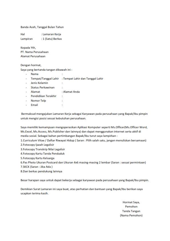 Surat Lamaran Kerja Tanpa Info Lowongan Kerja