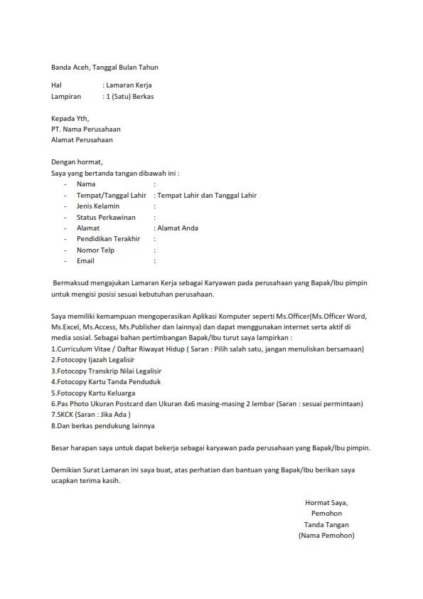 Surat Lamaran Tanpa Posisi : surat, lamaran, tanpa, posisi, Surat, Lamaran, Tanpa, Posisi, Jabatan