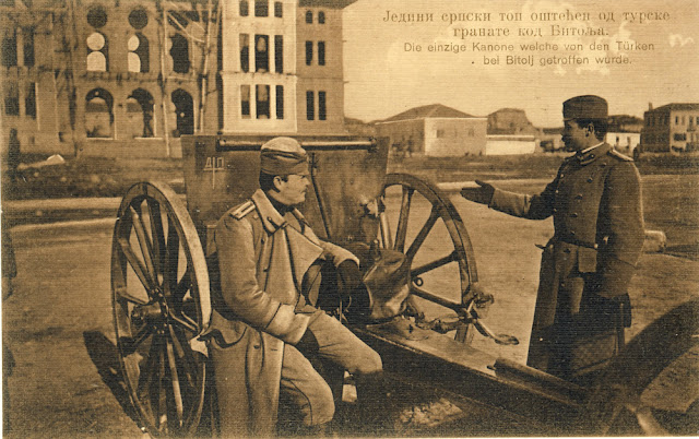 Serbian canon damaged by Turkish grenade during the Battle of Bitola (Battle of Monastir) - 16 to 19 November 1912 - Serbian postcard