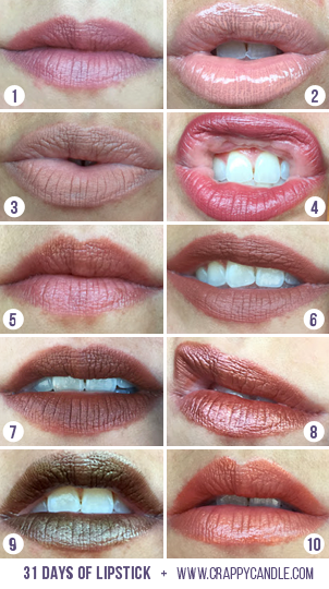 Neutral, Nude, Brown, & Orange Lipstick Swatches | 31 Days of Lipstick via Crappy Candle