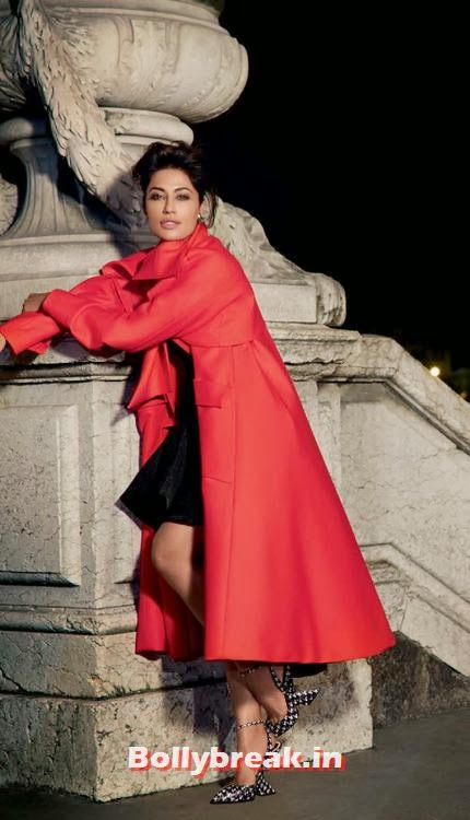 Chitrangda Singh in red coat, Chitrangda Singh Harper's Bazaar Magazine Scans