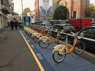 Bicycles to rent are a feature of Milan today