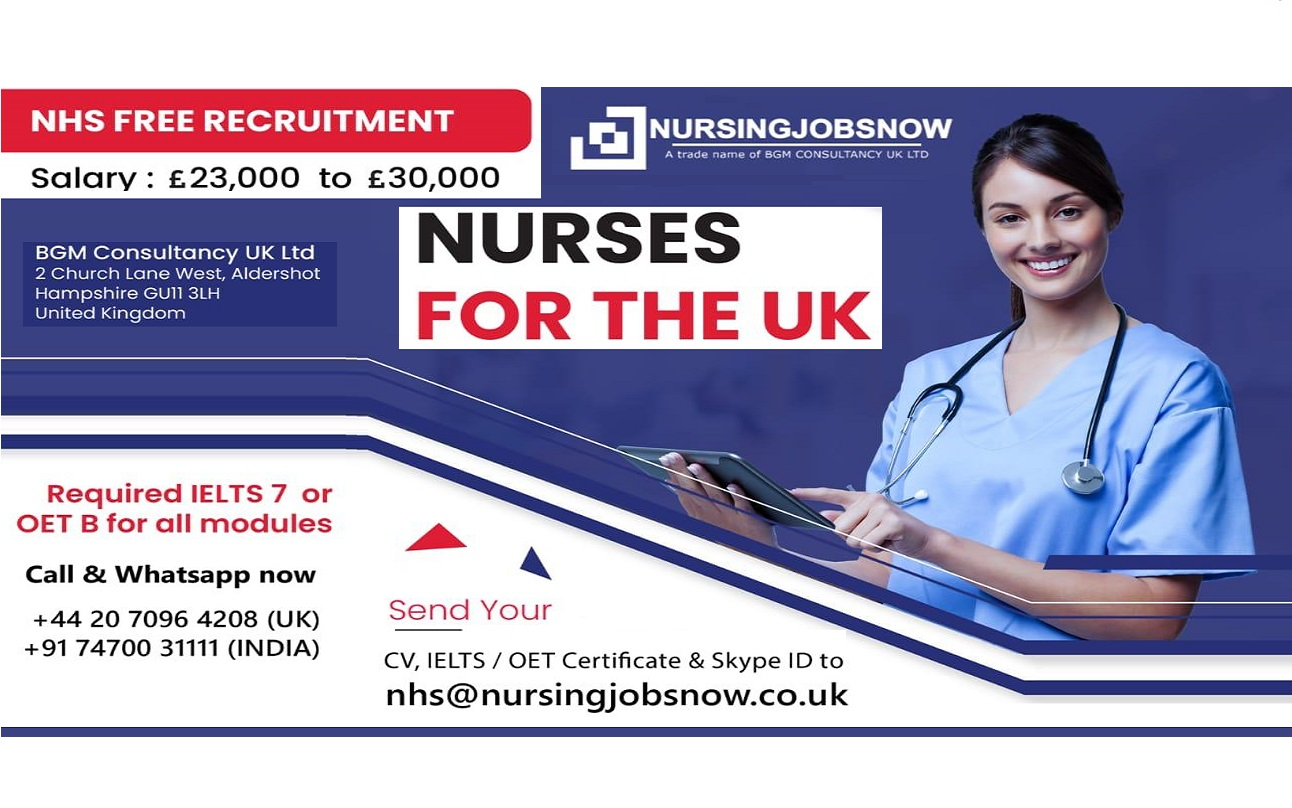Staff Nurse Free Recruitment to - NHS Trust In UK