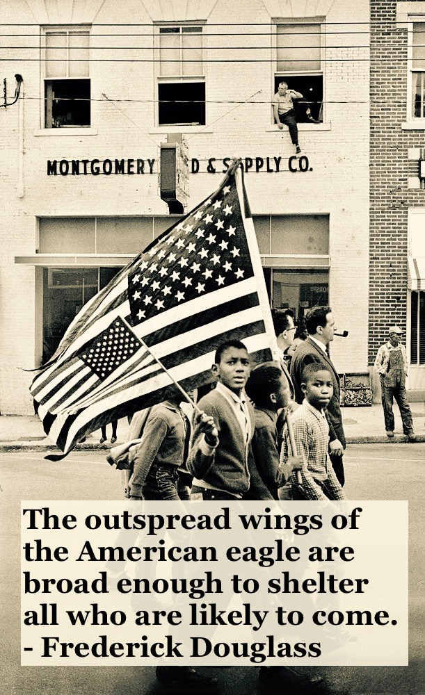 Photo of young black boys. Civil rights march with America Flags in motgomery c 1950s America has room for all quote by Fredrick Douglass. Other stories of Racism and Civil Rights. Well said, Mr. Douglass. marchmatron.com