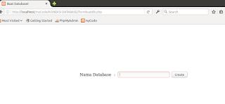 Tampilan form untuk membuat database