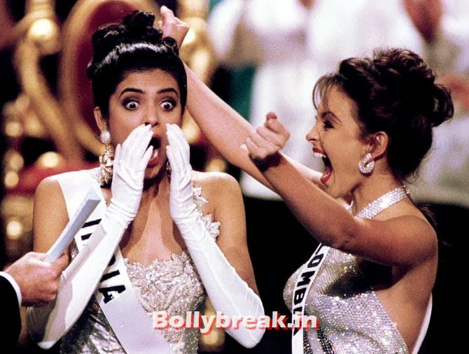Miss India Sushmita Sen reacts after winning the Miss Universe beauty pageant in Manila May 21. At right jubilating is first runner up Miss Colombia Carolina Gomez, Indian Women who have won Beauty Peagents across the World