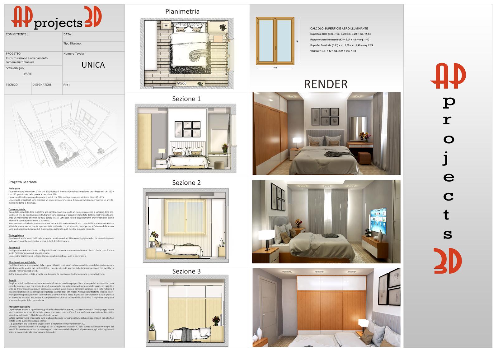 Ap projects 3d progetto di arredo camera matrimoniale for Progetto camera