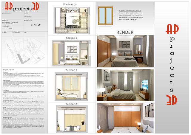 Ap projects 3d progetto di arredo camera matrimoniale for Progetto arredo