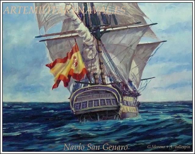 Pintura al oleo del Navio San Genaro de la Armada Española