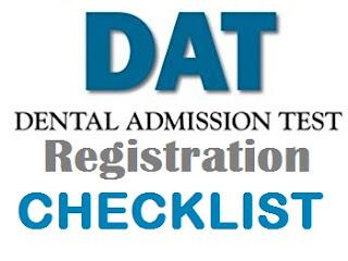 Dental Admission Test Registration and Checklist