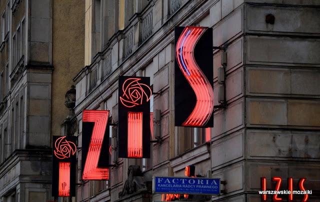 Warszawa Warsaw neony warszawskie światła Marszałkowska Izis