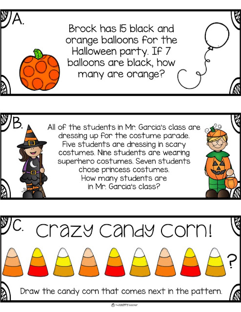 Halloween math activities for the month of October. These are perfect for Kindergarten, 1st grade, and 2nd grade.
