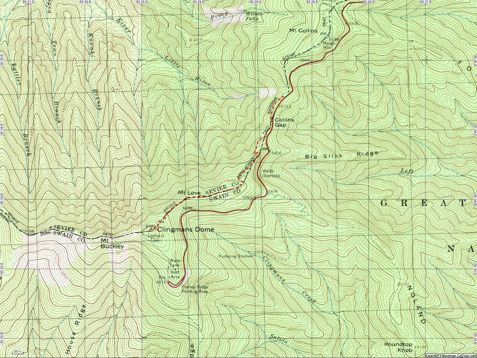 American Travel Journal Clingmans Dome To Collins Gap Appalachian - Appalachian trail topo map