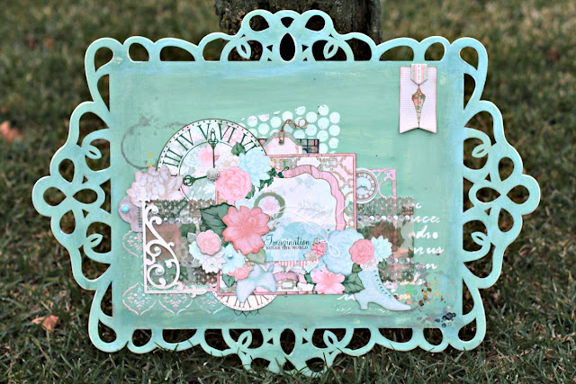 BoBunny Sunday Funday Altered Plaque featuring Felicity and Pentart Chalk Paint designed by Rhonda Van Ginkel