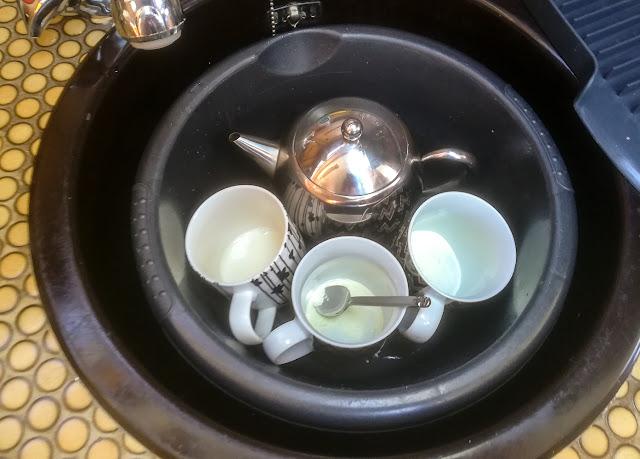 Photo of tea making on a lumpy sea