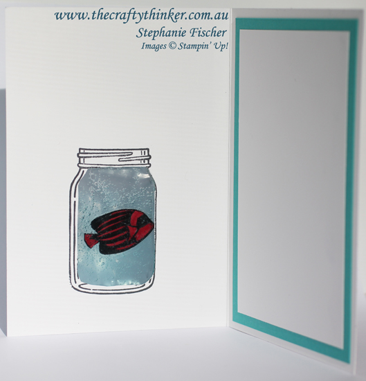 Stampin Up, #thecraftythinker, Jar of Love, Timeless Textures, Seaside Shore, fish in Gel Card, Stampin Up Australia Demonstrator