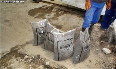 cimento no saco plastico