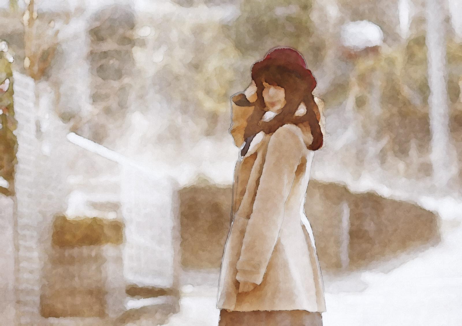 水彩画のコートの美女 モデル:茜さや様