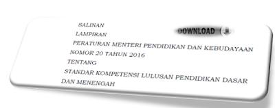 gambar Permendikbud Nomor 20 Tahun 2016 Tentang Kompetensi lulusan Pendidikan dasar dan menengah