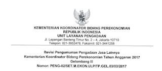 Lowongan Kerja Non PNS Kementerian Koordinator Bidang Perekonomian