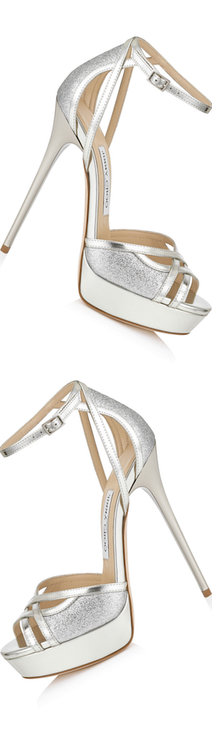Jimmy Choo Laurita 115 Silver Mirror Leather and Glitter Sandals