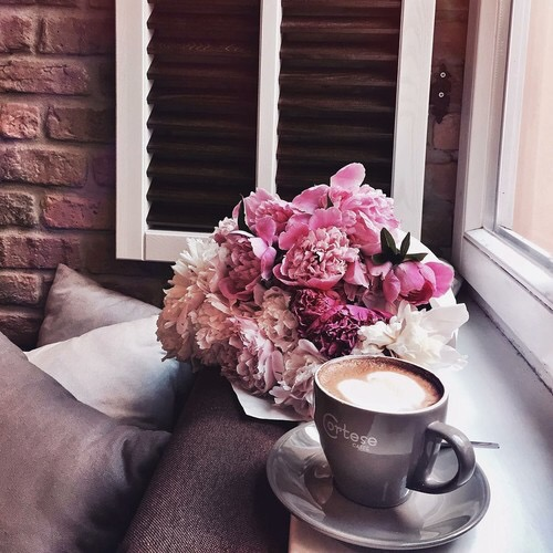 Pretty Pink Peonies Breakfast Cappuccino